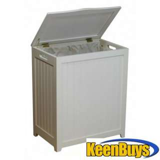 Oceanstar White Finished Solid Wood Laundry Hamper RHP0109W
