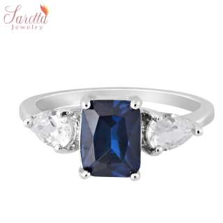 SALE! Gift Blue Sapphire White Gold GP Ring Lady Fashion Jewelry Size