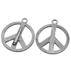 DIY Jewelry Making 12 pcs Alloy Pendants, Peace Sign, Antique Silver