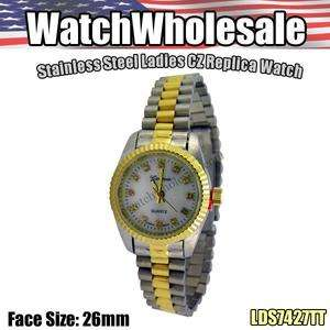 LADIES CZ HIGH QUALITY REPLICA WATCH TWO TONE USA LDS7427TT