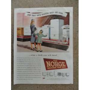 Norge appliances, Vintage 40s full page print ad. (woman and little