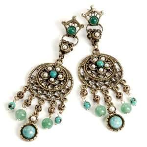 Sweet Romance Chryso Turquoise Chandelier Earrings