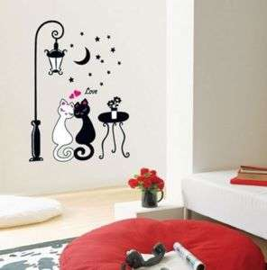 Romantic Cats Kid Adhesive Wall STICKER Removable Decal