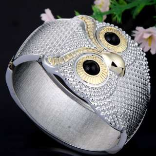 Silver & Gold Plated Open ended Owl Bangle Bracelet W/ Spring Special