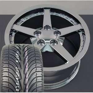 18 Fits Camaro Corvette   C6 Deep Dish wheels tires   Chrome with