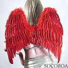 LARGE RED Feather Angel Wings Photo Props FREE Halo Hal