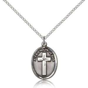 .925 Sterling Silver A Friend In Jesus Medal Pendant 3/4 x