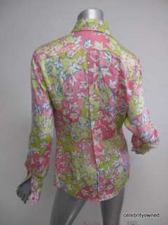Pucci Bright Multi Color Printed Button Down Blouse 38
