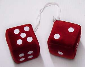 50s classic rat rod 3 Fuzzy Dice Red pair