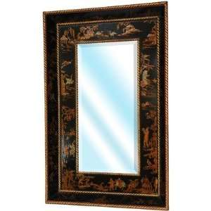 Extra Wide Wall Mirror in Antique Black Lacquer