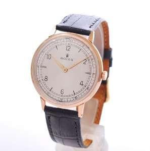 18K SOLID ROSE GOLD MANUAL WIND BIG SIZE VINTAGE DRESS MENS WRISTWATCH