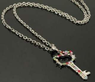 Rainbow Swarovski crystal lucky key hello kitty cat lady chain