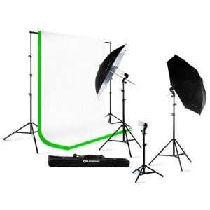 Lighting Light Kit + 10 x 10 100% Cotton Green Chroma Key