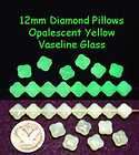 Yellow Opalescent VASELINE URANIUM GLASS BEADS 12mm Pillows
