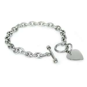 Stainless Steel Heart Tag Bracelet 7.5 Jewelry