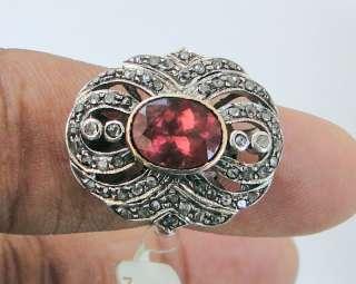 Rubelite Diamond gold silver ring Victorian jewelry