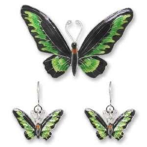 Rajah Brookes Birdwing Sterling Silver & Enamel Pin