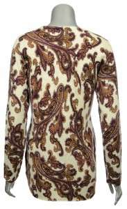 Sutton Studio Womens Cashmere Paisley Long Cardigan