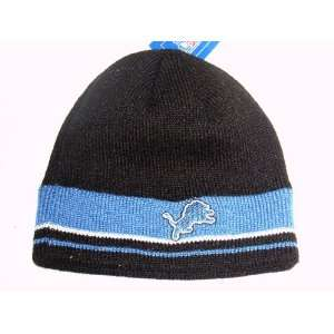 com DETROIT LIONS Cuffless Black Team Striped Knit Beanie Hat Skully
