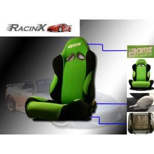 Green with Black Universal Racing Seats   Pair Automotive