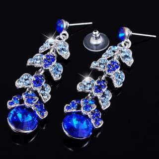 Czekh Rhinestone Crystal Prom Bridal Necklace Earrings 1Set