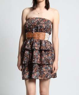 MOGAN Floral Print Tiered Ruffle TUBE BELTED DRESS Strapless A Line