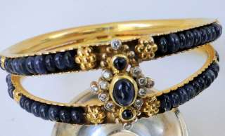 Diamond sapphire beads gold bangle bracelet jewelry