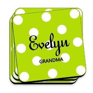 Baby Keepsake Green Apple Personalized Polka Dot Coaster Set Baby