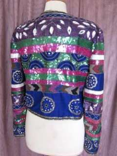 SAPPHIRE THAI SILK BEADED BOLERO JACKET~L~COLORFUL BEADING & SEQUINS