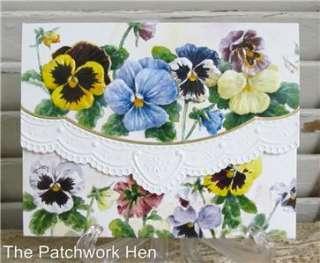 Wilson Pansy Garden Blank Note Card Set Embossed 095372723831