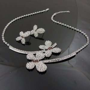 Bridal Prom Crystal Rhinestone Butterfly Necklace Set
