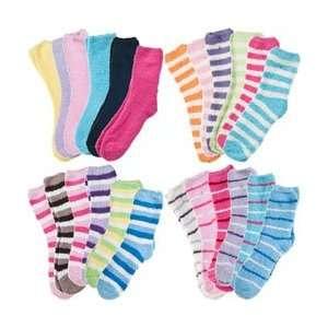 6 Pack of Fluffy Cozy Fuzzy Socks   Wide Stripe