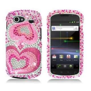 Pink HEART Bling DIAMOND Rhinestone Snap On Case for Samsung NEXUS S