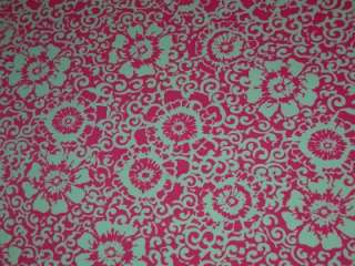 HOT PINK WHITE LYCRA FABRIC FLORAL SWIRL NYLON 4WAY BTY