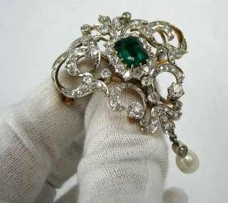 1900s Belle Époque 8.0ct Emerald Diamond & Natural Pearl Platinum
