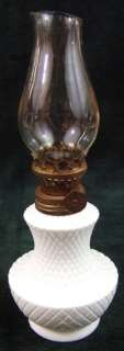 Small Mid Cenury Milk Glass Oil Lamp Made in Hong Kong