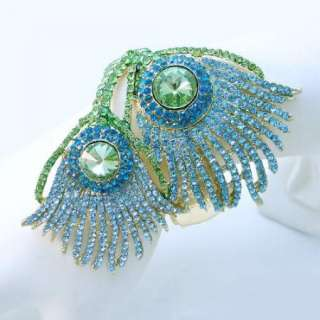 Blue Swarovski Crystal Dual Peacock Plume Bracelet Cuff