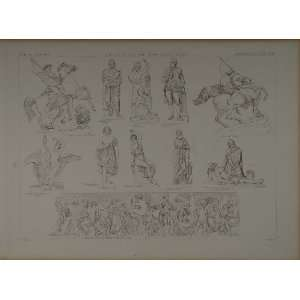 1870 Lithograph German Sculptures Lion Fight Swan Horse