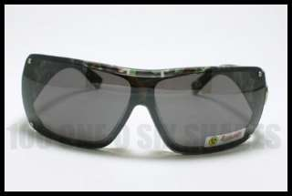 Bio Hazard Biker Style Shield Sunglasses CAMO GREEN