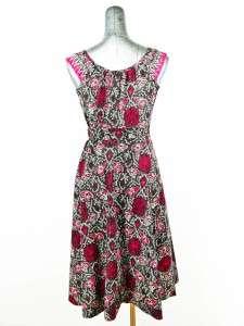black magenta floral WRAP DRESS sleeveless lightweight a line S