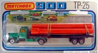 Matchbox TP25 Peterbilt Pipe Truck rare black trailer