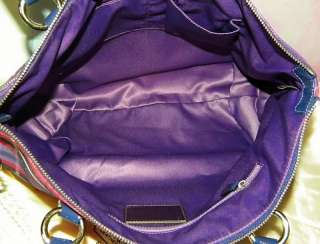 AUTHENTIC COACH POPPY TARTAN GLAM PURPLE LEATHER SHOULDER BAG HANDBAG