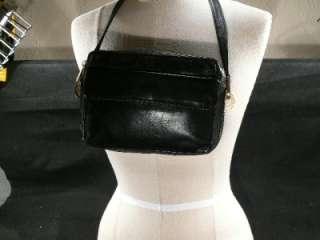 PERLINA BLACK LEATHER SHOULDER BAG PURSE CROSS BODY GOLD TONE HARDWARE