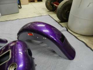 02 Harley FLSTFI Softail Fatboy Purple Ice Paint Set Gas Tank Front