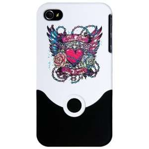 iPhone 4 or 4S Slider Case White Look After My Heart Roses