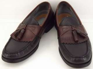 Mens shoes dark brown black French Shriner 10.5 M loafers leather