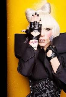 Heart Half Finger fingerless Black Gloves Lady Gaga new