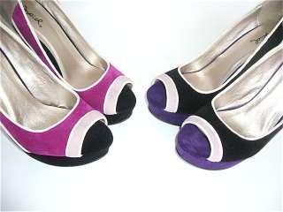 New Multi color PeepToe Suede Platform Dress shoes Pump