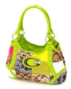 NEW DESIGNER INSPIRED LIME GREEN PATCHWORK PURSE