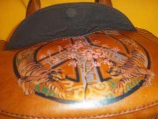 Rare Lucky Brand Magic Mushroom Leather Purse Cherry Blossom Tiger